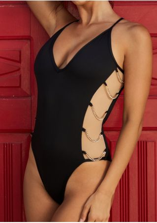 Solid Deep V-Neck Hollow Out Swimsuit