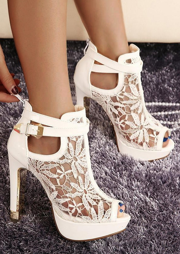 Solid Lace Floral Splicing Heeled Sandals