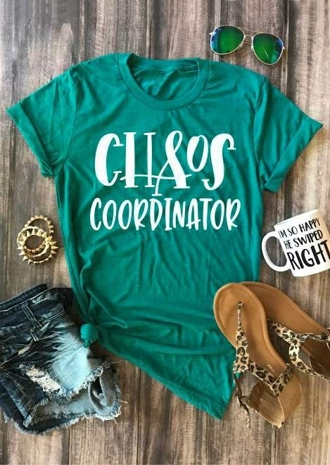 Tees T-shirts Chaos Coordinator O-Neck Short Sleeve T-Shirt in Green. Size: S,M,L,XL фото