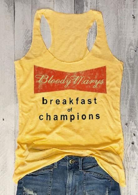 Tank Tops Bloody Marys Breakfast Of Champions Tank in Gray,Yellow. Size: S,M,L,XL,2XL,3XL фото