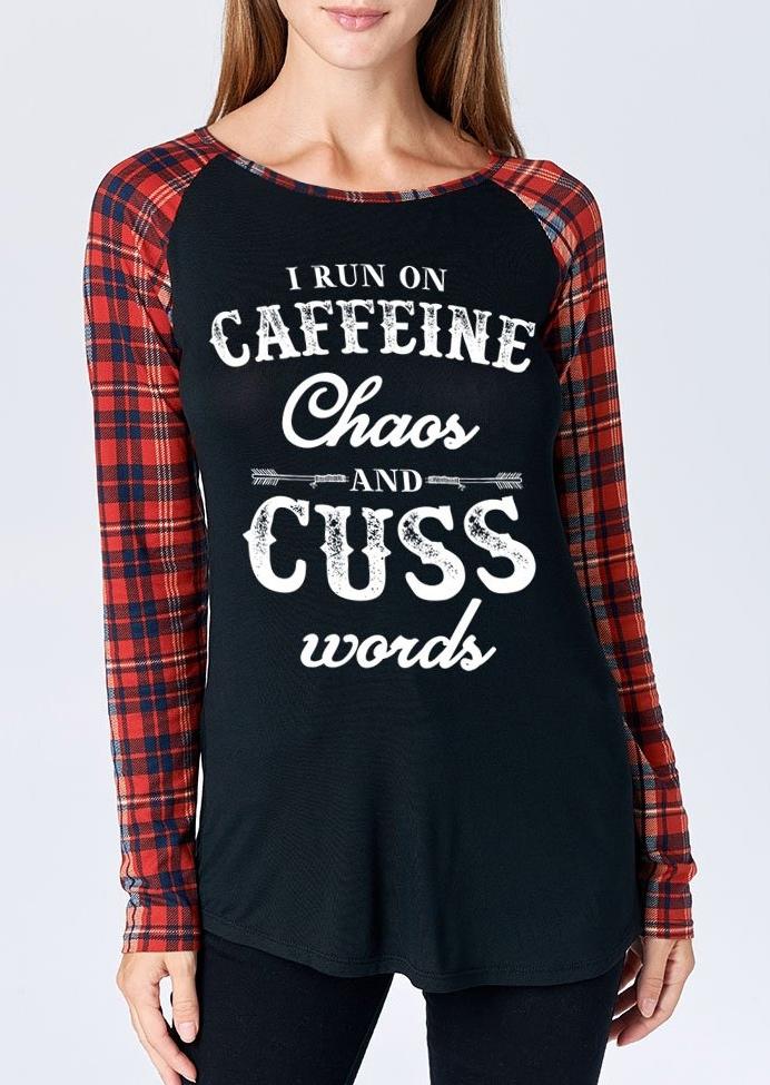 Caffeine Chaos And Cuss Plaid Baseball T-Shirt