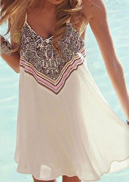 Geometric Printed Spaghetti Strap Mini Dress – White