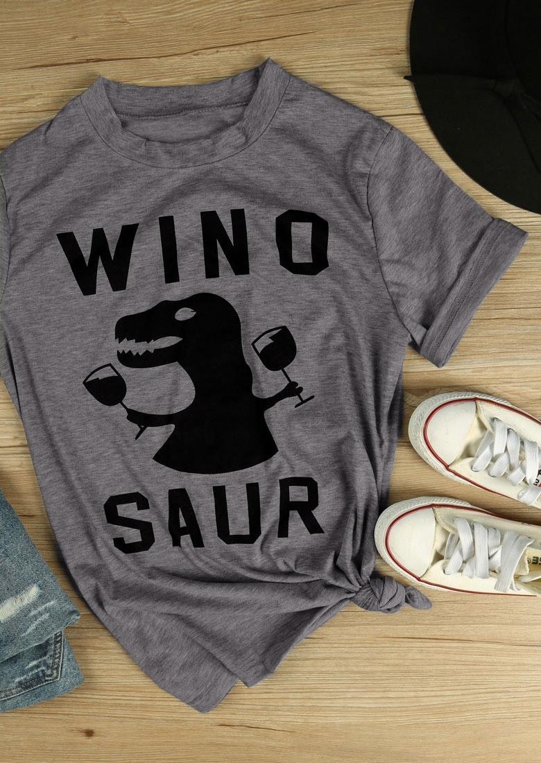 Winosaur Dinosaur Printed Short Sleeve T-Shirt Tee фото