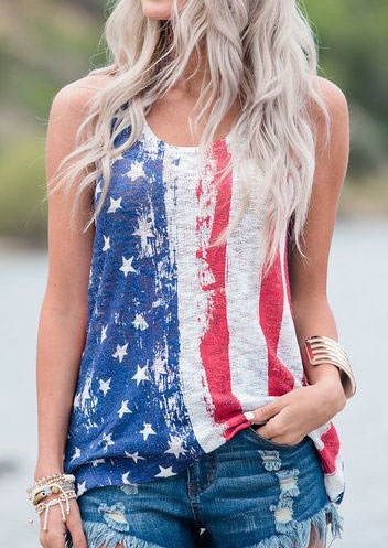 American Flag 4th of July Patriotic Tank Top in Multicolor. Size: S,M,L,XL,2XL,3XL фото