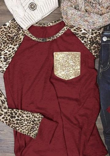 Leopard Printed Sequined Pocket Baseball T-Shirt