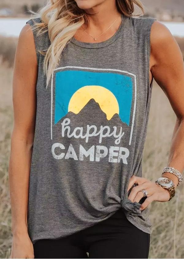 Tank Tops Happy Camper O-Neck Tank in Gray. Size: S,M,L,XL,2XL,3XL фото