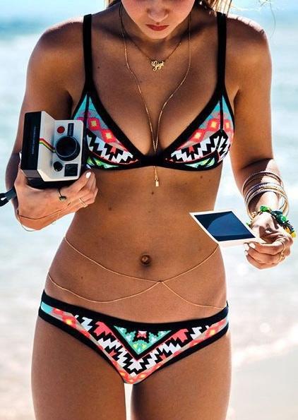 Geometric Spaghetti Strap Push Up Bikini Set - Multicolor фото