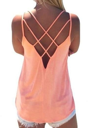 Tank Tops Hollow Out Backless Camisole in Pink,Royal Blue,Watermelon Red. Size: S,M,L,XL фото