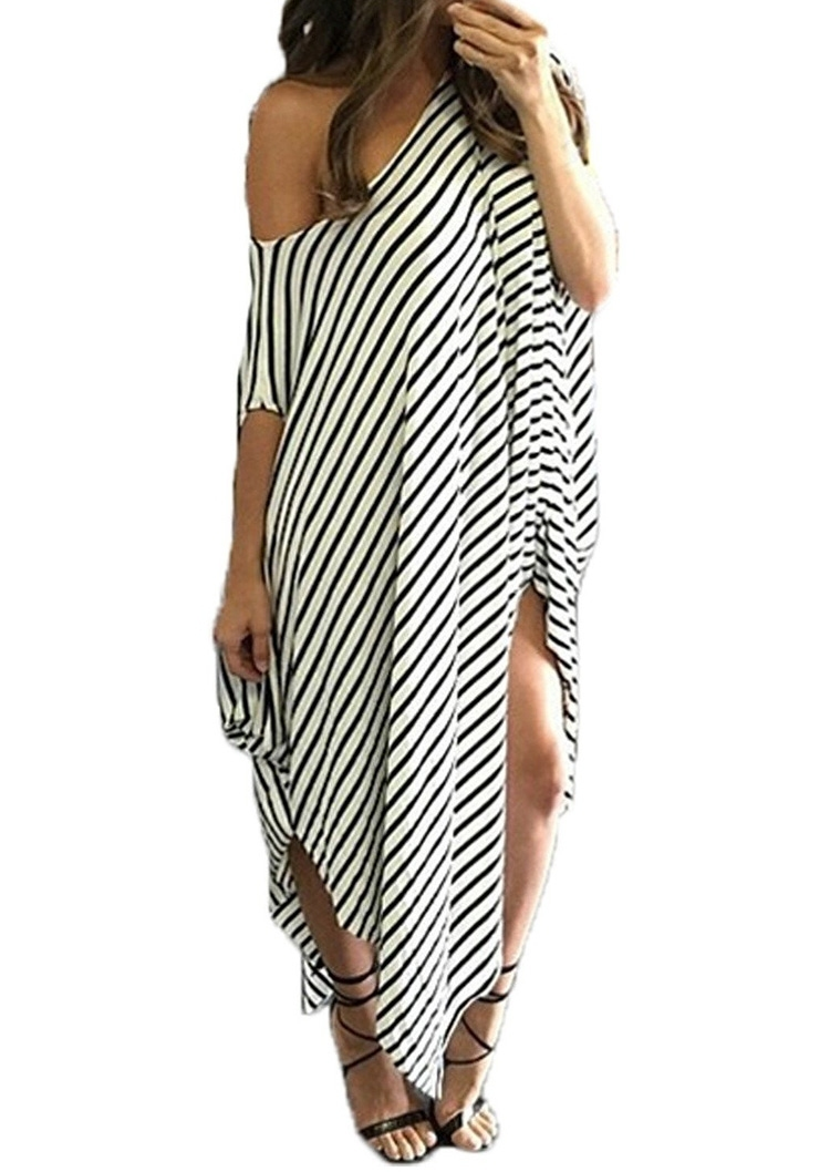 eaaf1bbf33c Striped Asymmetric Plus Size Maxi Dress - Fairyseason
