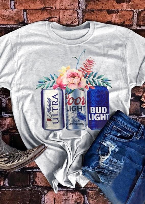 Coors Light Bud Light Michelob Ultra Beer T-Shirt. in Light Grey. Size: S,M,L,XL,2XL,3XL фото