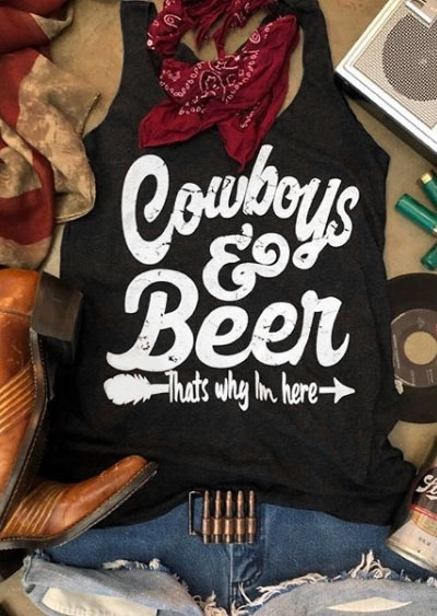 Cowboys & Beer Arrow Tank – Black