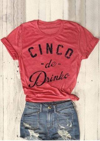 Cinco De Drinko Short Sleeve T-Shirt Tee - Watermelon Red