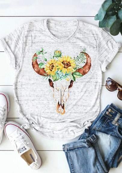 Floral Bull Skull Short Sleeve T-Shirt Tee – Light Grey