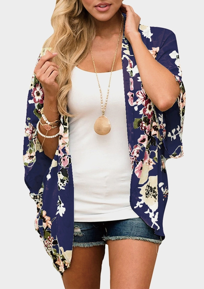 Floral Three Quarter Sleeve Cardigan without Necklace