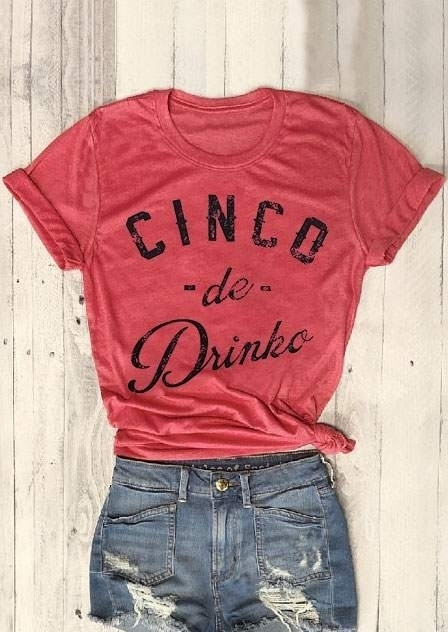Cinco De Drinko Short Sleeve T-Shirt Tee - Watermelon Red фото