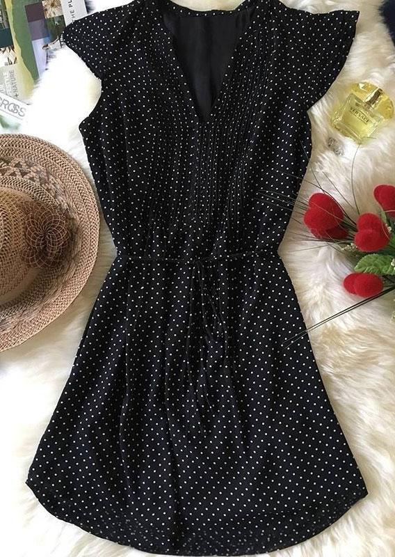 Polka Dot Drawstring Mini Dress – Black