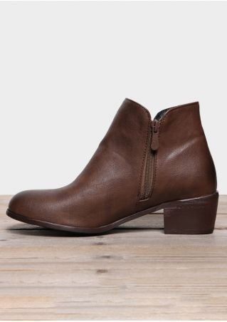 Solid Zipper Round Toe Boots