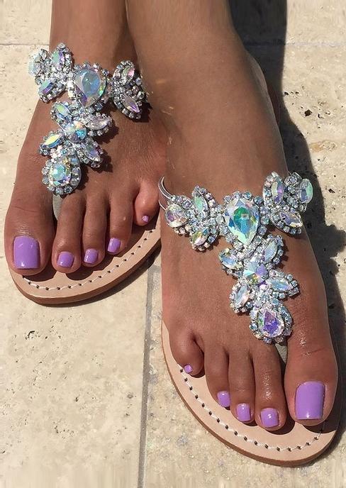 Imitated Crystal Flat Flip Flops