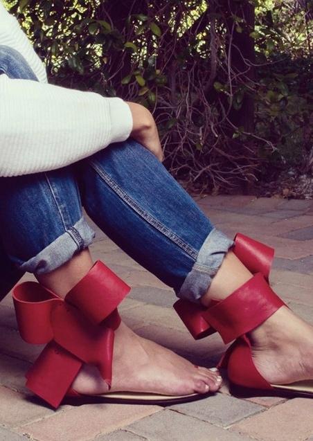 FairySeason / Solid Bowknot Toe Ring Sandals