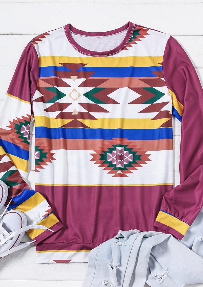 Geometric Striped Long Sleeve T-Shirt