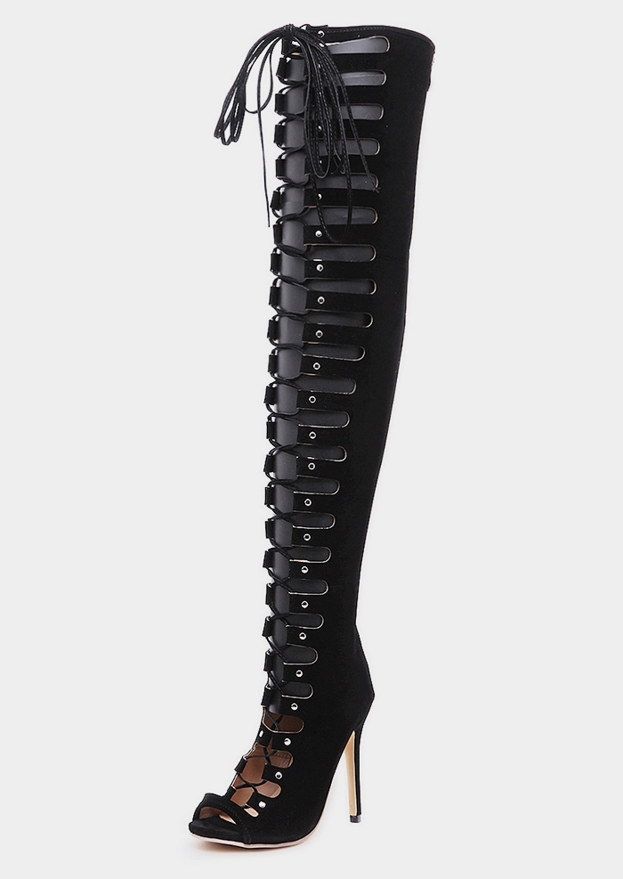 6d507ced7 Solid Hollow Out Lace Up Thigh High Boots - Fairyseason