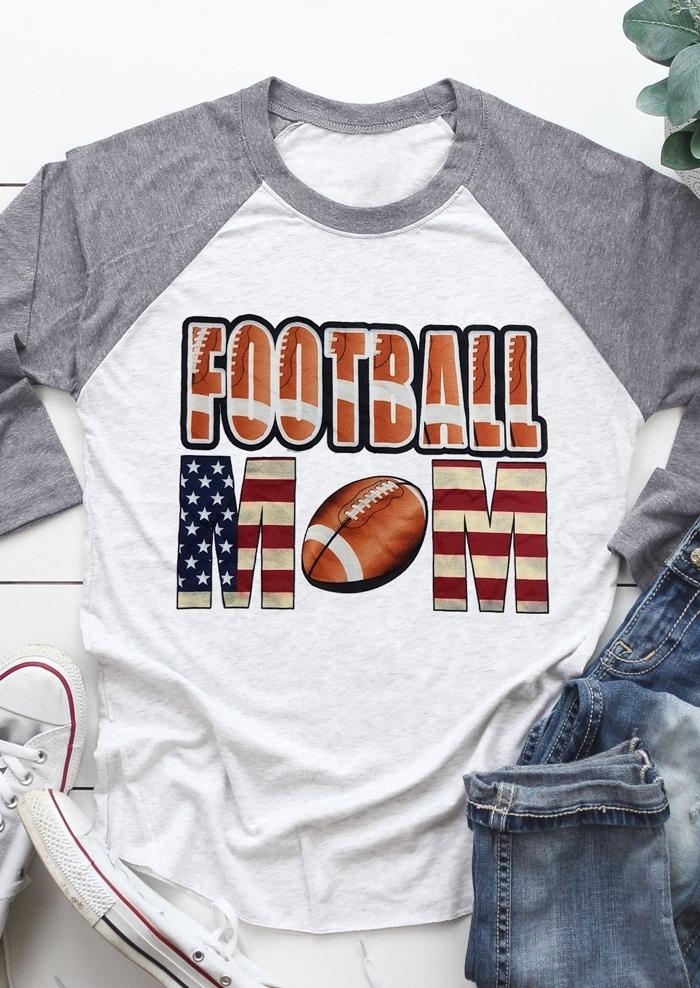 bae1acd6 Football Mom O-Neck Baseball T-Shirt Tee - Fairyseason