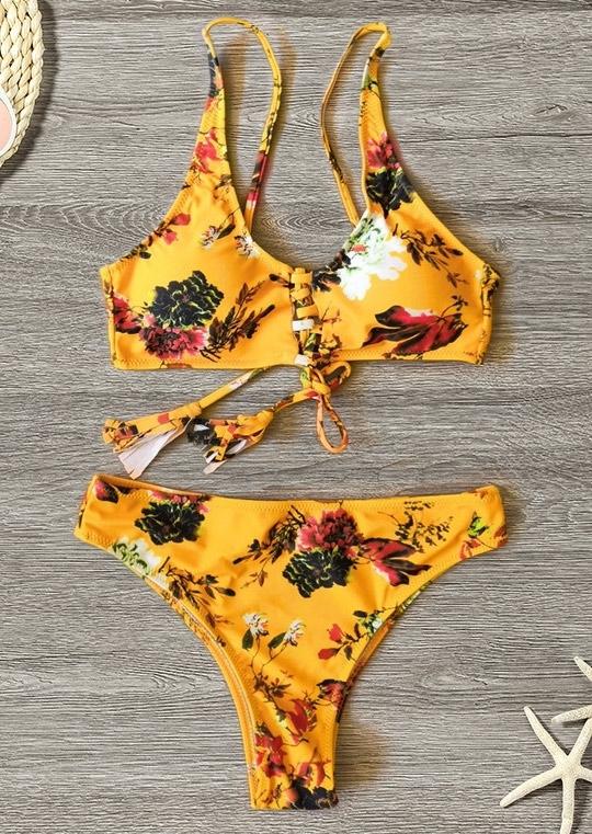 Floral Tassel Tie Bikini Set