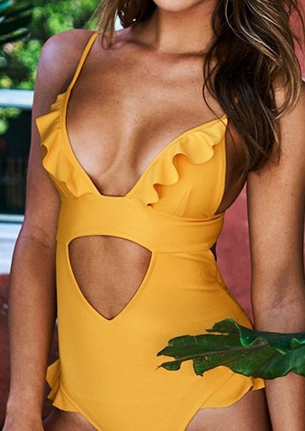 Solid Ruffled Hollow Out Swimsuit