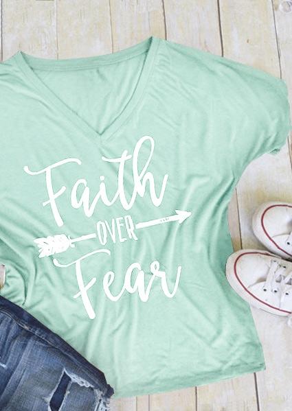 Tees T-shirts Faith Over Fear Arrow T-Shirt in Black,Gray,Light Green. Size: S,M,L,XL,2XL,3XL фото