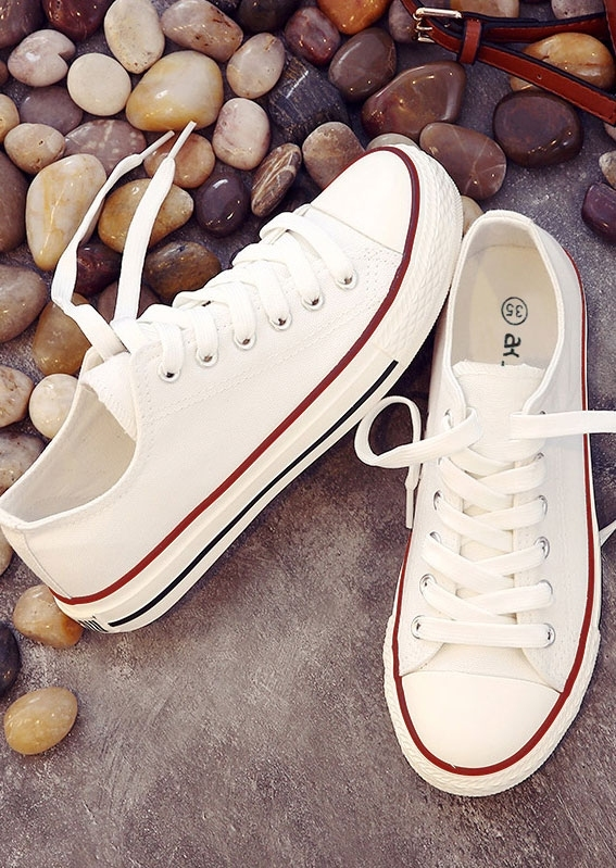 Sneakers Letter Lace Up Canvas Sneakers in White. Size: 41