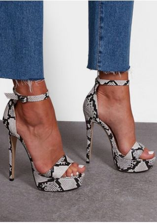 Snakeskin Printed Ankle Strap Heeled Sandals