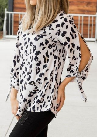Leopard Printed Tie Blouse