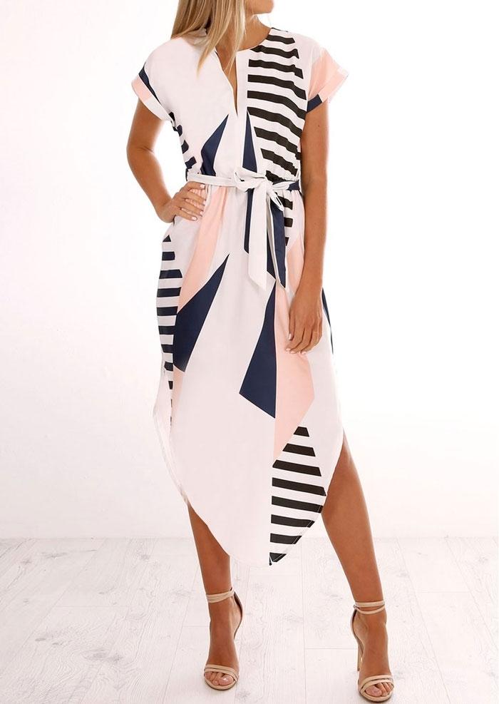 Geometric Printed Asymmetric Casual Dress with Belt - Multicolor фото