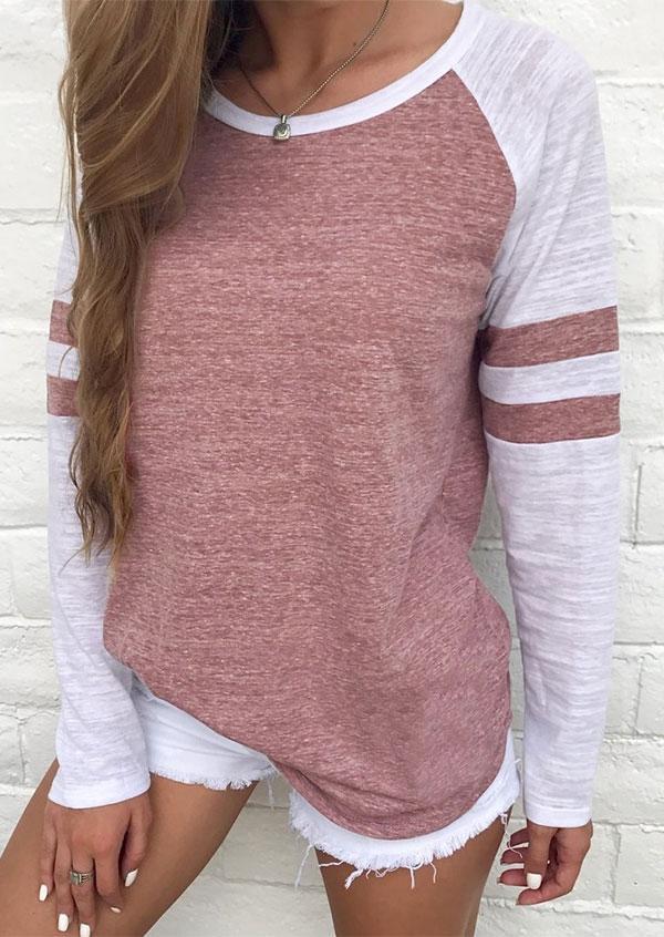 Striped Splicing Baseball Long Sleeve T-Shirt Tee