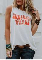Sunshine Vibes O-Neck Tank - White