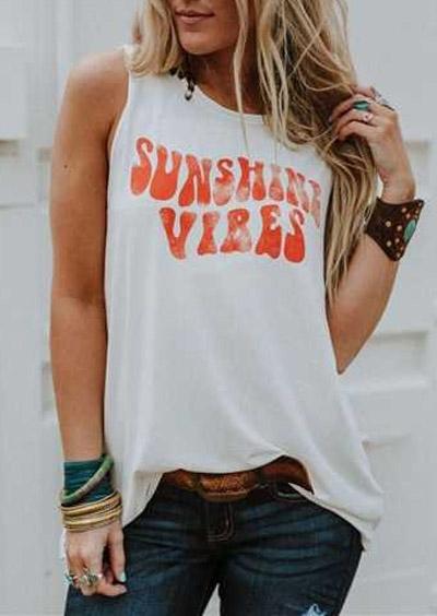Sunshine Vibes O-Neck Tank – White