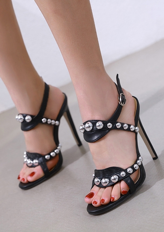 Image of Beading Buckle Strap Heeled Sandals