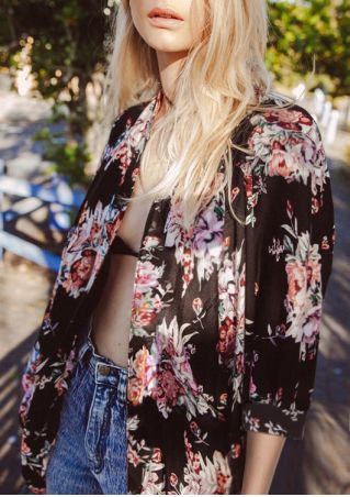 Floral Three Quarter Sleeve Cardigan