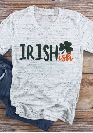 Irishish Shamrock V-Neck T-Shirt Tee