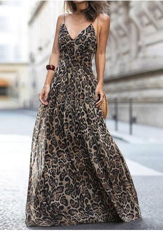 Leopard Printed Spaghetti Strap Maxi Dress