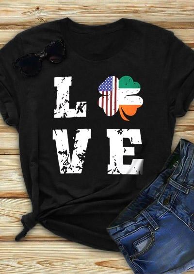 Shamrock Lucky Irish America Love T-Shirt Tee