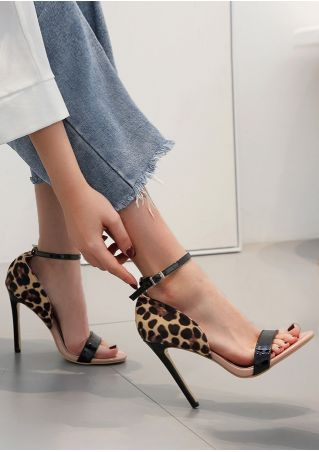 Leopard Pattern Ankle Strap Heeled Sandals