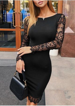 Solid Lace Floral Splicing Bodycon Dress