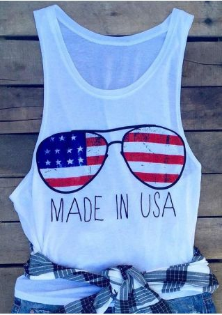 Made In USA American Flag Glasses Tank