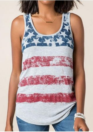 American Flag Printed Star Tank without Necklace