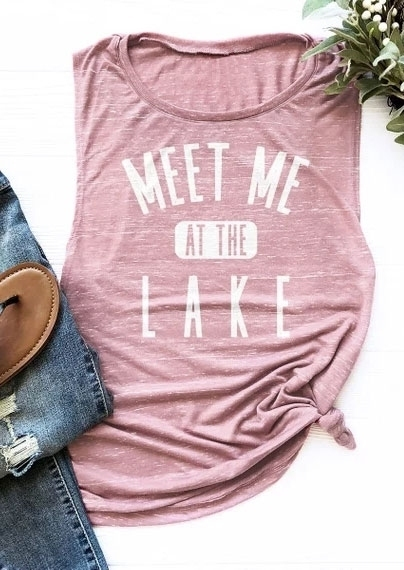 Tank Tops Meet Me At The Lake Tank in Pink. Size: S,M,L,XL фото