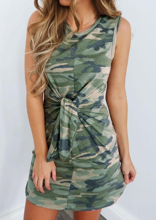Camouflage Printed Tie Sleeveless Mini Dress