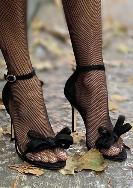 Solid Bowknot Ankle Strap Heeled Sandals