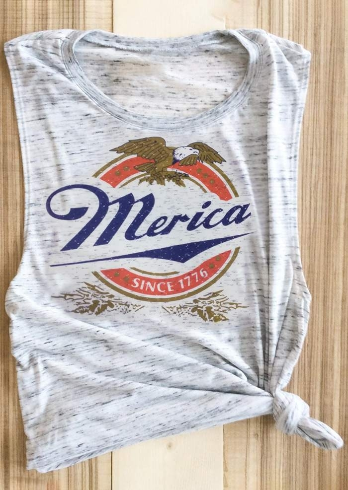 Merica Since 1776 Eagle Tank - Light Grey фото