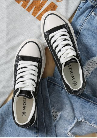 Solid Lace Up Casual Sneakers